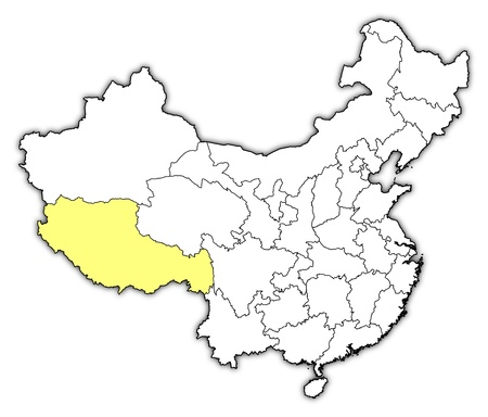 tibet: Political map of China with the several provinces where Tibet is highlighted. Illustration