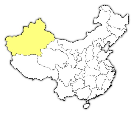 people's republic of china: Political map of China with the several provinces where Xinjiang is highlighted.