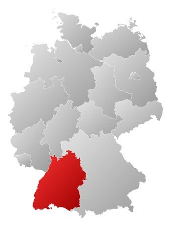 highlighted: Mappa politica della Germania con i diversi Stati in cui si evidenzia Baden-Wuerttemberg. Vettoriali