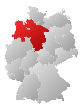 Political map of Germany with the several states where Lower Saxony is highlighted. Vector