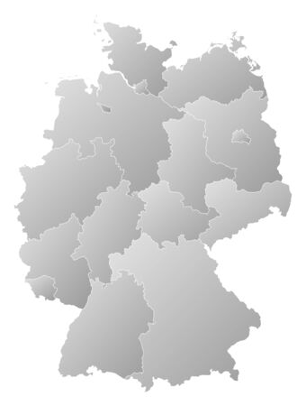 tone shading: Political map of Germany with the several states.
