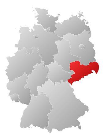 deutschland karte: Politische Karte von Deutschland mit den verschiedenen Staaten, in denen Sachsen wird hervorgehoben.