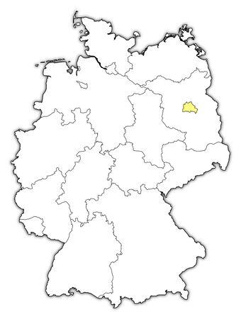 frontier: Political map of Germany with the several states where Berlin is highlighted.