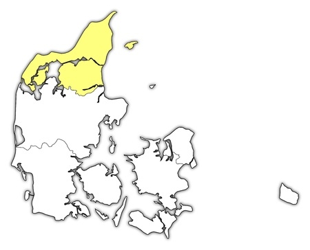 danmark: Political map of Danmark with the several regions where North Denmark is highlighted.