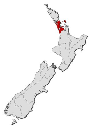 council: Political map of New Zealand with the several regions where Auckland is highlighted.