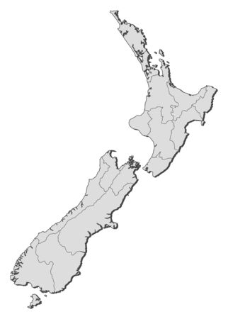 Political map of New Zealand with the several regions. Vector