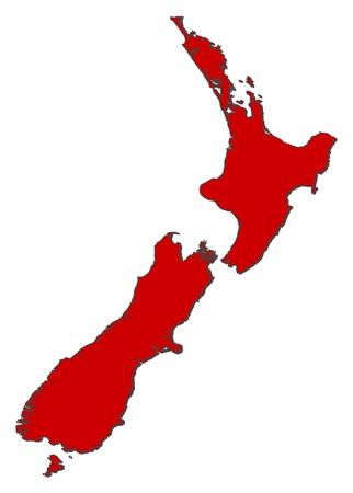mapa politico: Mapa pol�tico de Nueva Zelanda con las diversas regiones.