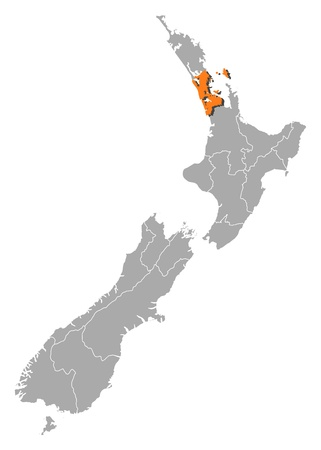 Political map of New Zealand with the several regions where Auckland is highlighted. Vector