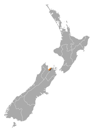 emphasize: Political map of New Zealand with the several regions where Nelson is highlighted. Illustration