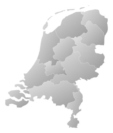 tone shading: Political map of Netherlands with the several states.