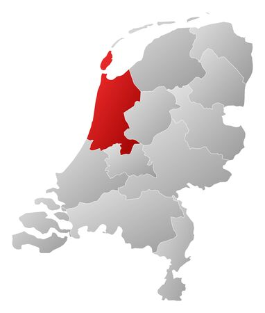 north holland: Political map of Netherlands with the several states where North Holland is highlighted. Illustration