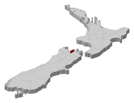Political map of New Zealand with the several regions where Nelson is highlighted. Vector