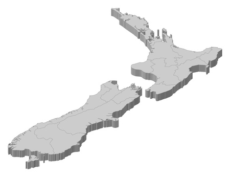 political map: Political map of New Zealand with the several regions.
