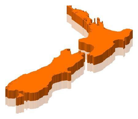 La carte politique de la Nouvelle-Zélande avec les diverses régions. Banque d'images - 11566133