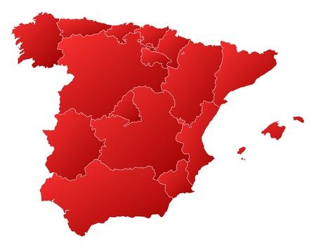 bundesl�nder: Politische Karte von Spanien mit den verschiedenen Regionen.
