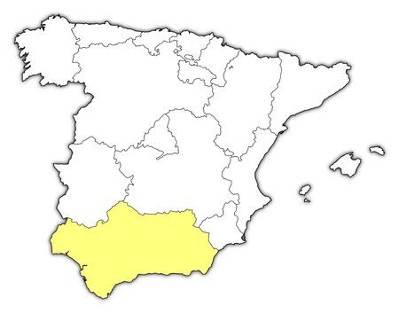 highlighted: Political map of Spain with the several regions where Andalusia is highlighted.