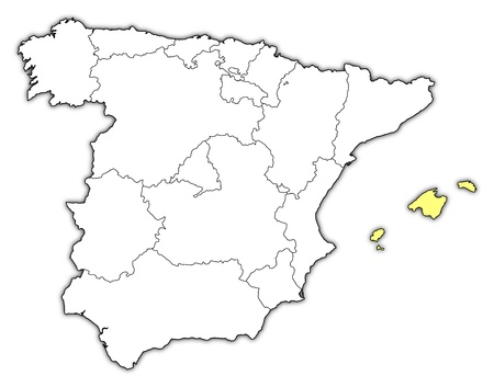 highlighted: Political map of Spain with the several regions where the Balearic Islands are highlighted.
