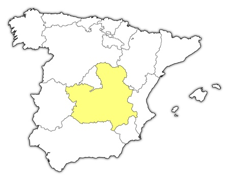 Political Map Of Spain With The Several Regions Where CastileLa
