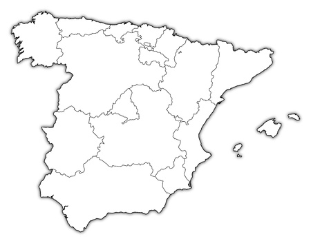 regions': Political map of Spain with the several regions.