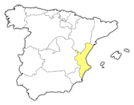 highlighted: Political map of Spain with the several regions where the Valencian Community is highlighted.