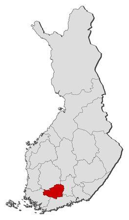 proper: Mappa politica della Finlandia con le varie regioni in cui � evidenziato Tavastia Proper. Vettoriali