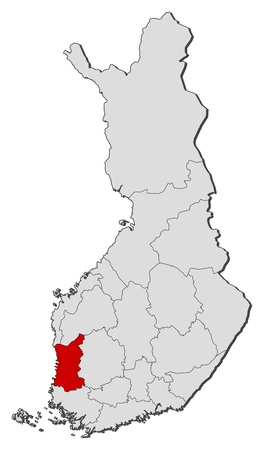 Political map of Finland with the several regions where Satakunta is highlighted.