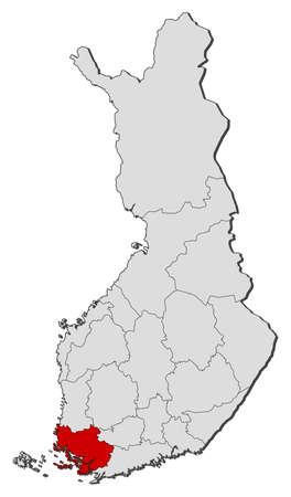 proper: Mappa politica della Finlandia con le varie regioni in cui � evidenziata la Finlandia corretta.