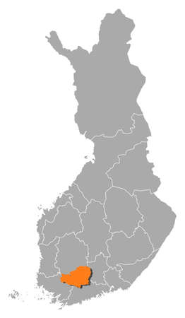 proper: Political map of Finland with the several regions where Tavastia Proper is highlighted.