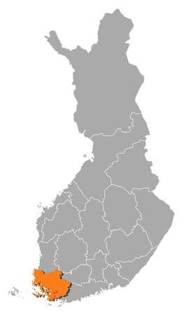 proper: Mappa politica della Finlandia con le varie regioni in cui � evidenziato Finlandia corretta.
