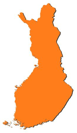 Political map of Finland with the several regions.