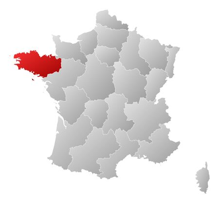 bretagne: Political map of France with the several regions where Brittany is highlighted.