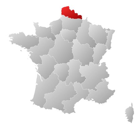 calais: Political map of France with the several regions where Nord-Pas-de-Calais is highlighted.