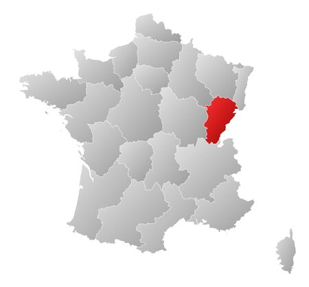 Political map of France with the several regions where Franche-Comté is highlighted.
