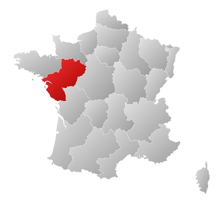 Political map of France with the several regions where Pays de la Loire is highlighted. Illustration