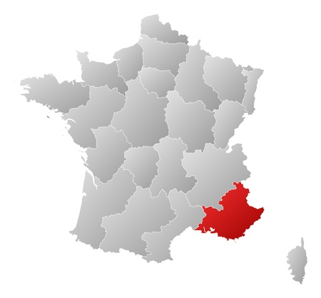 Political map of France with the several regions where Provence-Alpes-C�te dAzur is highlighted. Vector