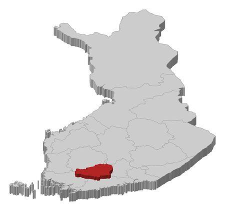 proper: Mappa politica della Finlandia con le varie regioni in cui � evidenziato Tavastia corretta.