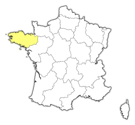 brittany: Political map of France with the several regions where Brittany is highlighted.