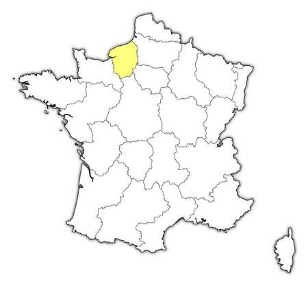 normandy: Political map of France with the several regions where Upper Normandy is highlighted.