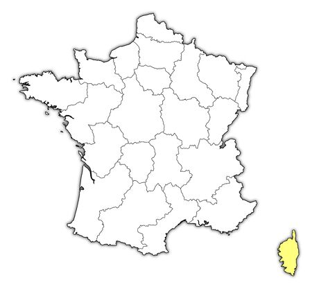 corsica: Political map of France with the several regions where Corsica is highlighted. Illustration