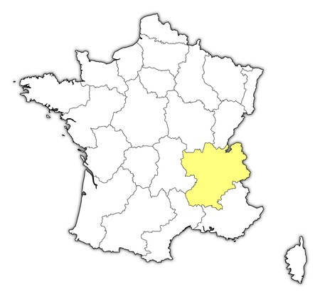 ne: Political map of France with the several regions where Rhone-Alpes is highlighted. Illustration