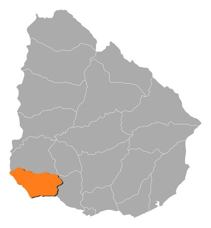 Political map of Uruguay with the several departments where Colonia is highlighted. Ilustração