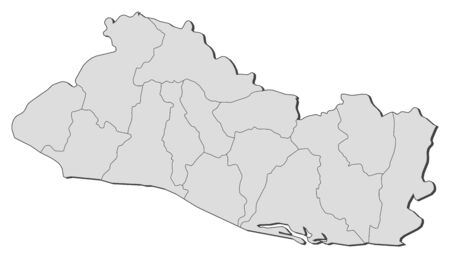 mapa de el salvador: Mapa pol�tico de El Salvador con los distintos departamentos.