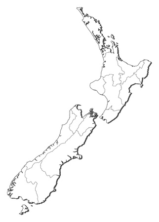 regions': Political map of New Zealand with the several regions.