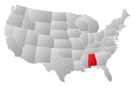 highlighted: Political map of United States with the several states where Alabama is highlighted.