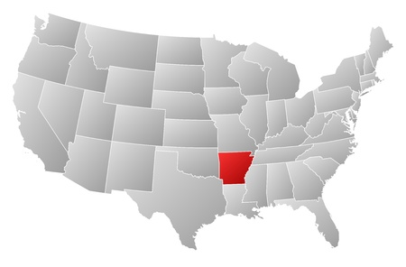 ar: Political map of United States with the several states where Arkansas is highlighted.