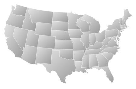 Politieke kaart van Verenigde Staten met de verschillende landen waar Washington, DC wordt gemarkeerd.