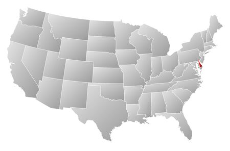 general maps: Political map of United States with the several states where Delaware is highlighted. Illustration