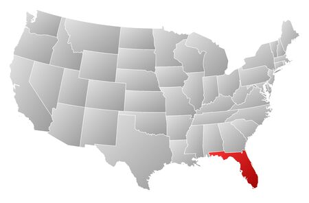 frontier: Political map of United States with the several states where Florida is highlighted.