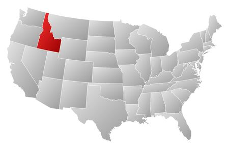 Political Map Of United States With The Several States Where - United states map idaho