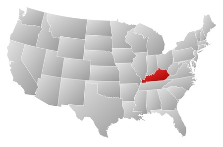 emphasize: Political map of United States with the several states where Kentucky is highlighted.